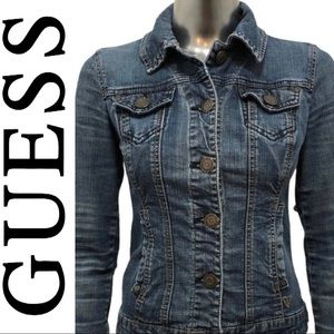 Guess Denim Jean Jacket Distressed Button Front